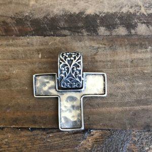 Silpada Sterling Silver oxidized stylized Cross